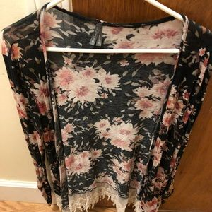 Black, pink, and a hint of cream floral cardigan